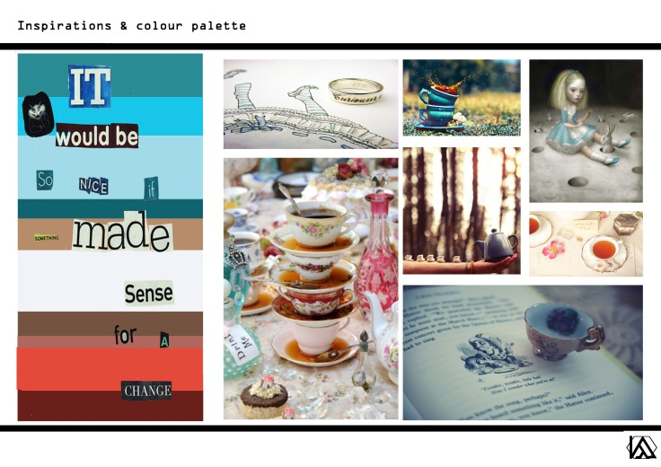 Curiouser & curiouser research & colour palette.