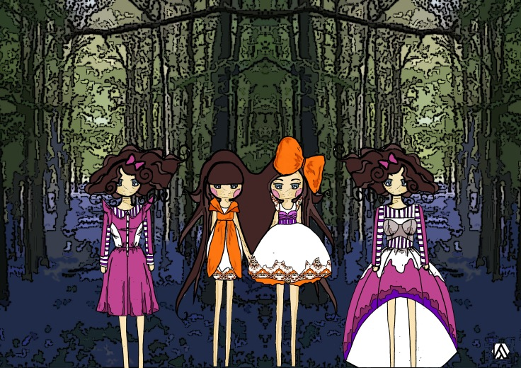 'Tulgey Wood' Following Alice Illustration
